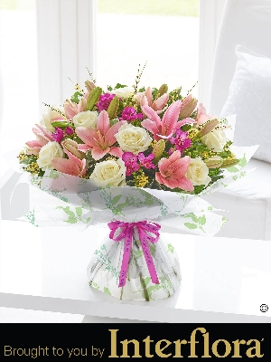 Happy Birthday Spring Rose Lily And Freesia Hand Tied With Balloon