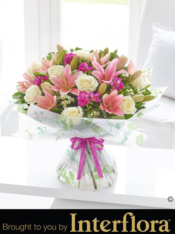 Happy birthday spring rose lily and freesia hand tied flower happy birthday spring rose lily and freesia hand tied mightylinksfo