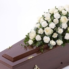 Rose and Carnation Casket Spray   White *