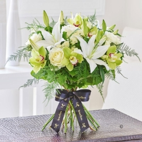 Luxury Lily and Green Orchid Hand tied