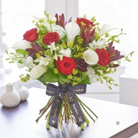 Luxury Red Rose and White Calla Lily Hand tied