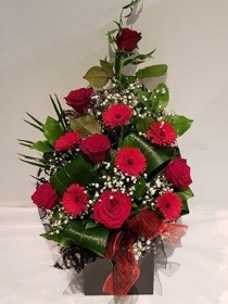 Valentine Rose & Germini Front Facing Bouquet