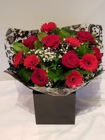 Valentines Rose & Germini Hand Tied in box.